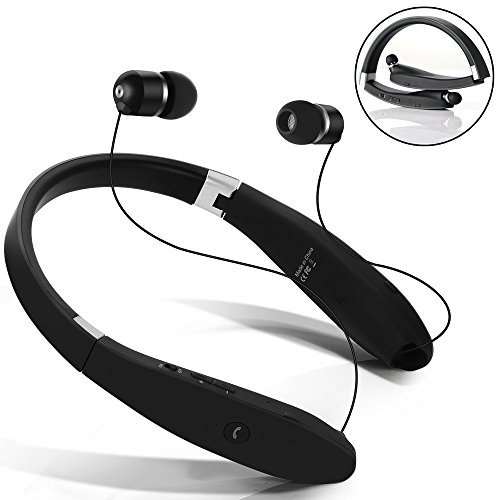 Bluetooth Headset, Dostyle Wireless Bluetooth Headphones Neckband Stereo Earphones with Retractable Earbuds, Foldable Design and Mic for iPhone X 8 7 Plus iPad Samsung Galaxy S7 S8 and Android - Mall At Avenues Stores