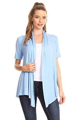 Solid & Printed Short Sleeves Open Front Draped Cardigan/MADE IN USA Lightblue L