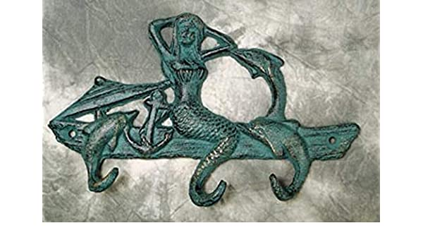 Jewelry Key nautical Verdigris Patina Mermaid Dolphins Multi Hook Beach Ocean