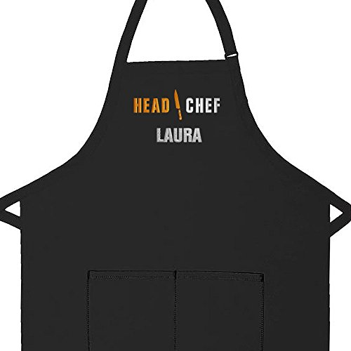 Personalized Apron Embroidered Head Chef Design Add a Name Made in USA, Commercial Quality Adult Apron with Extra Long Ties, 2 Pockets and Adjustable Neckstrap (Black, Regular Adult 28