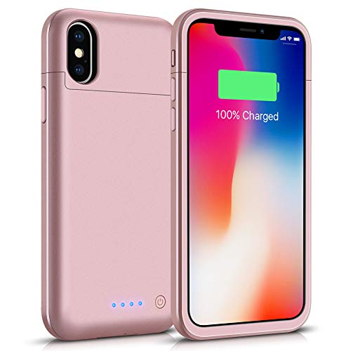 iPhone X/XS Battery Case, Gasopic 5200mAh Extended Slim iPhone X/XS Charging Case Protective Charger Case Cover for iPhone X/XS, 10 (5.8inch)-Rose Gold