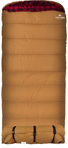 - TETON Sports Deer Hunter Sleeping Bag; Warm and Comfortable Sleeping Bag Great for Camping Even in Cold Seasons; Brown, Right Zip