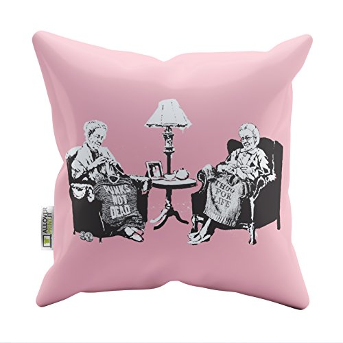 Banksy Pillow Cases Grannies Printed Soft Faux Suede Cushion Covers