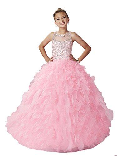 WZY Girls Illusion Neckline Rhinestones Beading Ruffled Ball Gown Princess Pageant Dress 12 US Baby Pink