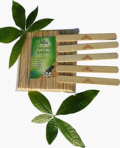 Large Wide Wax Applicator Sticks 6 in x 3/4 in 100 Pack by Princess Sticks | Bamboo Wood | Spa,Salon,beauty shop, Crafts | All Natural | chemical free |Smooth |Reusable | finish for hair removal (Strip Free Honee Gigi)