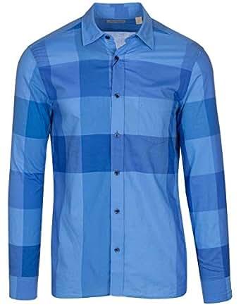 BURBERRY Men's Blue Cotton Vichy Check Casual Shirt, Blue, S