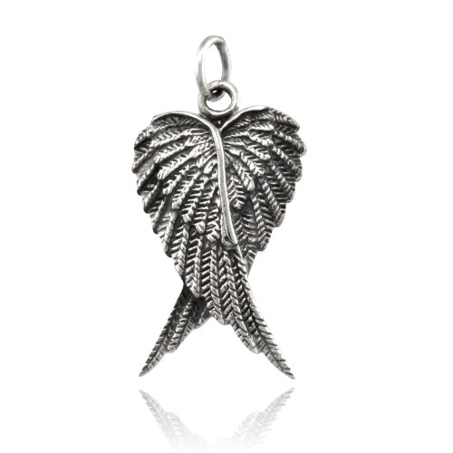 Charm Silver Solid Eagle Sterling (WithLoveSilver Solid 925 Sterling Silver Lovely Charm Cross Angel Wing Pendant)