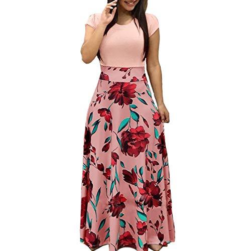 Aublary Women Summer Contrast Short Sleeve Floral Print Maxi Long Dress, Pink M(Short Sleeve) (Cheap Dresses To Wear To A Summer Wedding)