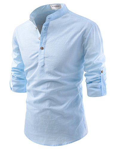 TheLees (NKN350) Transform Roll-Up Sleeve Mandarin Henley Neck Linen Shirts SKY US L(Tag size L)