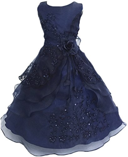 (Shiny Toddler Little Girls Embroidered Beaded Flower Girl Birthday Party Dress with Petticoat 2t to 3t(Tag100),Dark Blue)