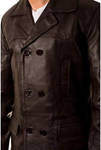 Herren Dr Who Schwarz Militär Zweireihig U-Boot Leder Mantel 3//4 Langer Mantel