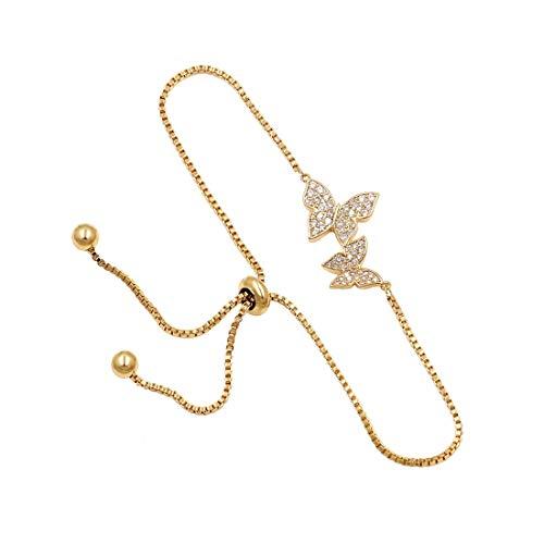WeimanJewelry Love Gift Cubic Zirconia CZ Bridal Butterfly Adjustable Bracelet for Women (Yellow Gold)