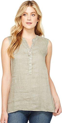 omen's Luxe Linen Sleeveless Button Tunic Gravel Blouse (Linen Sleeveless Blouse)
