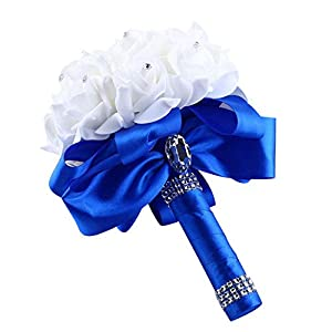 Fan-Ling Artificial Silk Flowers,Crystal Roses Pearl Bridesmaid Wedding Bouquet Bridal Holding Flowers (Blue) 62