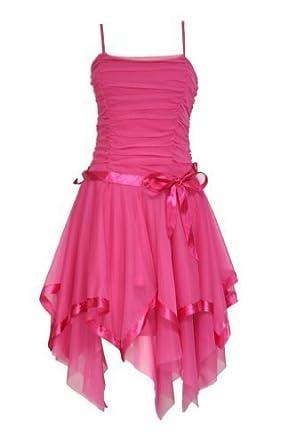 Womens Ladies Girls Ruched Asymmetrical Hem Ribbon Tie Chiffon Prom Dress 15 Colours Hot Pink