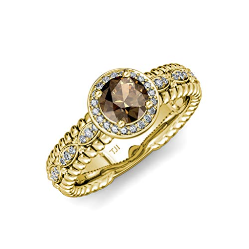 TriJewels Smoky Quartz & Diamond Lavaliere Shank Halo Engagement Ring 1.22 ctw 14K Yellow Gold.size 9.0 ()