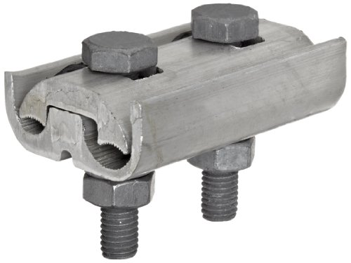 Morris Products 96022 Parallel Groove Clamp, 2 Bolt, Aluminum, 1/0 - 4/0 CU-AL Main, .373 - .563