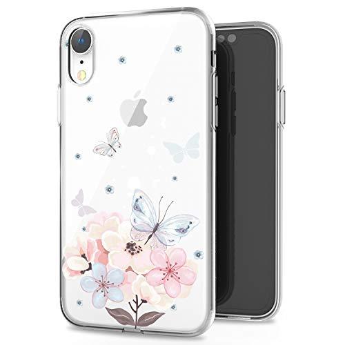 JAHOLAN iPhone XR Case Clear TPU Soft Slim Flexible Silicone Cover Girls Flower Design Cute Phone Case for iPhone XR - Pink Butterfly Flower