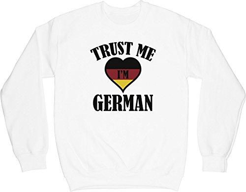 VectorPlanet Trust Me I'm German Unisex Sweatshirt, White XL (Trust Me Im German)