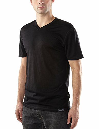 Woolly Clothing Co Men's Merino Wool V-Neck Hiking and Travel T-Shirt,Black,Small