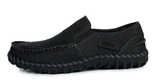 Tda Mens Business Casual Hand Halka På Läder Halkfri Drivande Loafers Finskor Svart