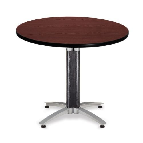 OFM KMT36RD-MHGY Round Multi-Purpose Table, Metal Mesh Base, 36'', Mahogany by OFM
