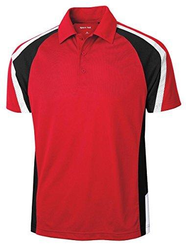 Sport-Tek Mens Tricolor Micropique Sport-Wick Polo, Medium, True Red/Black/White