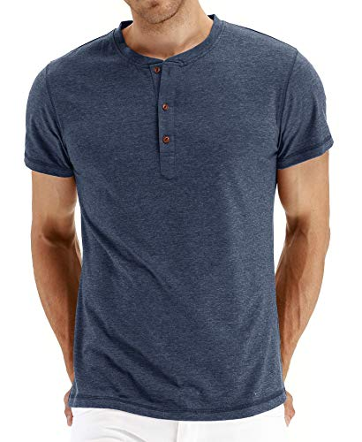 NITAGUT Mens Fashion Casual Front Placket Basic Short Sleeve Henley T-Shirts (Vg-Navy Blue S)