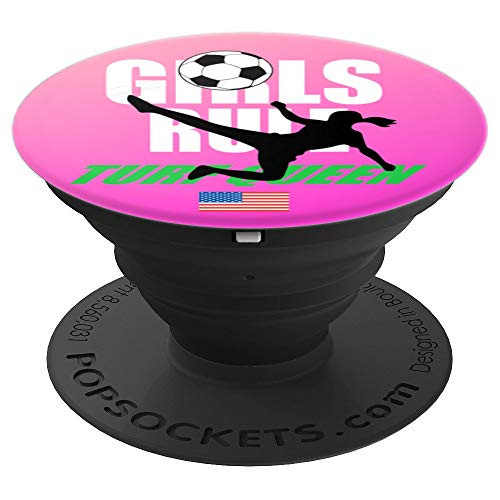 Soccer For Girls GIRLS RULE Turf Queen American Flag - PopSockets Grip and Stand for Phones and Tablets