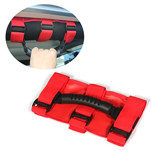 JCSPORTLINE Red Roll Bar Mount Side Grab Handle for Jeep (Cj Van)