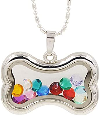 Silver CRYSTAL DOG WITH AQUA COLLAR Floating Charm for glass floating lockets