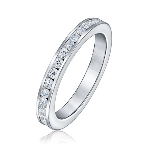 Cubic Zirconia Stackable CZ Channel Set Eternity Anniversary Wedding Band Ring For Women For Teen 925 Sterling Silver ()