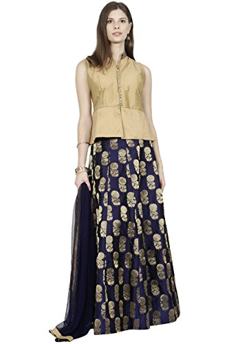 - Manmandir Womens Cotton Silk Ghagra Choli Set Readymade (Salwar Suits for Women) - Blue