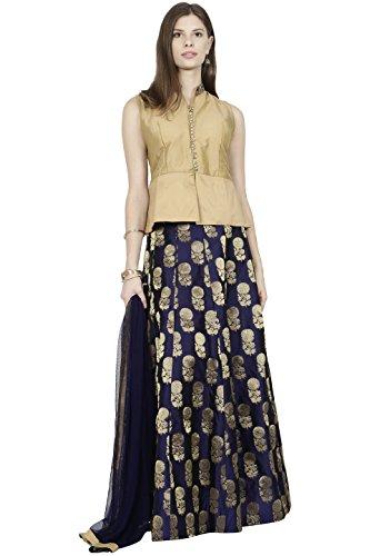 Manmandir Womens Cotton Silk Ghagra Choli Set Readymade (Salwar Suits for Women) - Blue ()