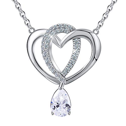 Esberry S925 Sterling Silver Necklace Pendant AAAA Cubic Zirconia Double Love Heart Shape 925 Pendant with Necklaces Link Chain Length 15