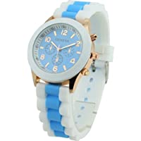 Women's Geneva Silicone Band Jelly Gel Quartz Wrist Watch Light Bule from Sanwood