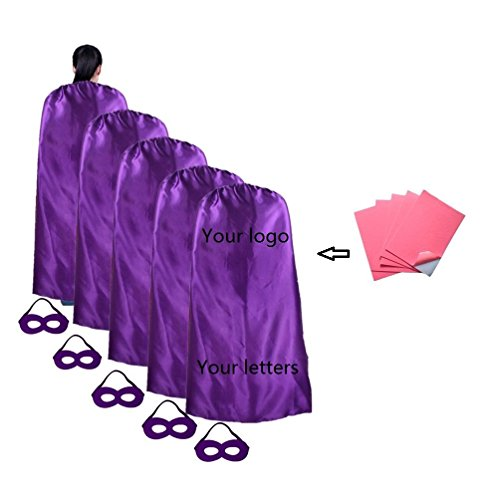 RANAVY Superhero Capes and Mask 5 Pieces for Adult No-sew No-Glue DIY Party Costume Plain Color (Purple)]()