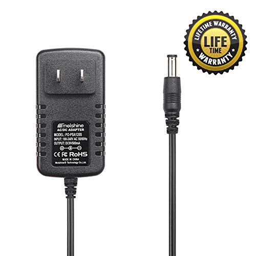 Molshine (6.6ft Cable) 9V AC DC PSA120S PSA-120S PSA120 PSA-120 Adapter Power Supply Rapid Charger for Boss ME-25 ME-50 ME-70 ME-80 DS-1 DD-20 GT-10 HM-2 RC-3 RC-30 RV-5 RV-6 TU-3 VE-20