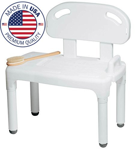 Bathtub Transfer - Bathtub and Shower Transfer Bench Chair with Exact Level Patented Height Adjustment