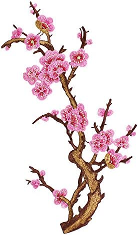 1piece Pink Plum Blossom Embroidery Flower Bird Applique Lace Trim Fabric Patches Cord Motifs Repair for Dress Clothes Decorated T2636 (2636 pink)