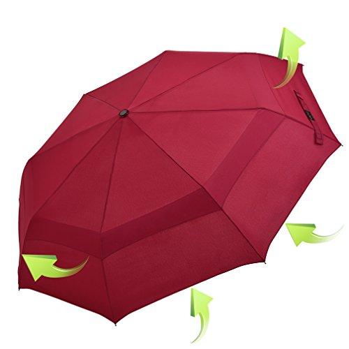 Koler Travel Umbrella Windproof Auto Open Close Large Sized Double Canopy Waterproof & Sunproof 46 Inch Oversized Folding Umbrellas – - In Usa Is When Sale Black Friday