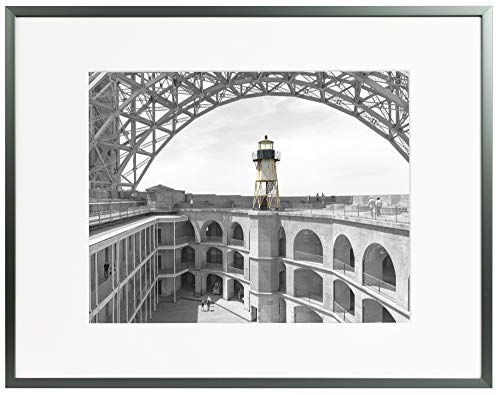 Frametory, 11x14 Modern Metallic Picture Frame Aluminum Photo Frame with Ivory Color Mat for 8x10 Picture & Real Glass (Dark ()