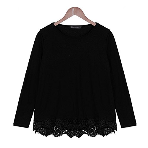 Hello-one Autumn Blouse New Fashion Women Long Sleeve O-Neck Casual Tops Sexy Lace Crochet Blusas Shirts Plus Size Black S