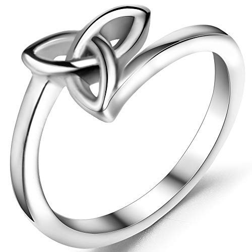 Jude Jewelers Stainless Steel Classical Celtic Knot Simple Plain Promise Ring (Silver, 6)
