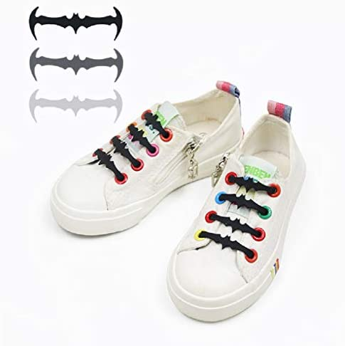 靴ひも、子供用靴,子供のバットの靴紐,キッズバットタイプの靴ひも、怠惰な靴ひも、シリコンレース、12個/バッグ、伸縮性のある靴ひも、