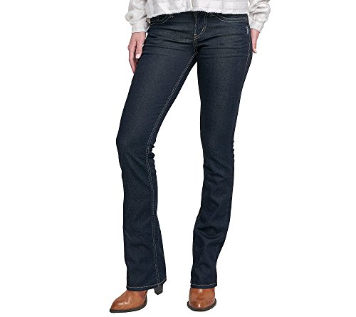 Silver Jeans Women's Suki Curvy Fit Mid Rise Slim Bootcut Jeans, Rinse Wash, 36x33 (Womens Slim Boot Jeans)