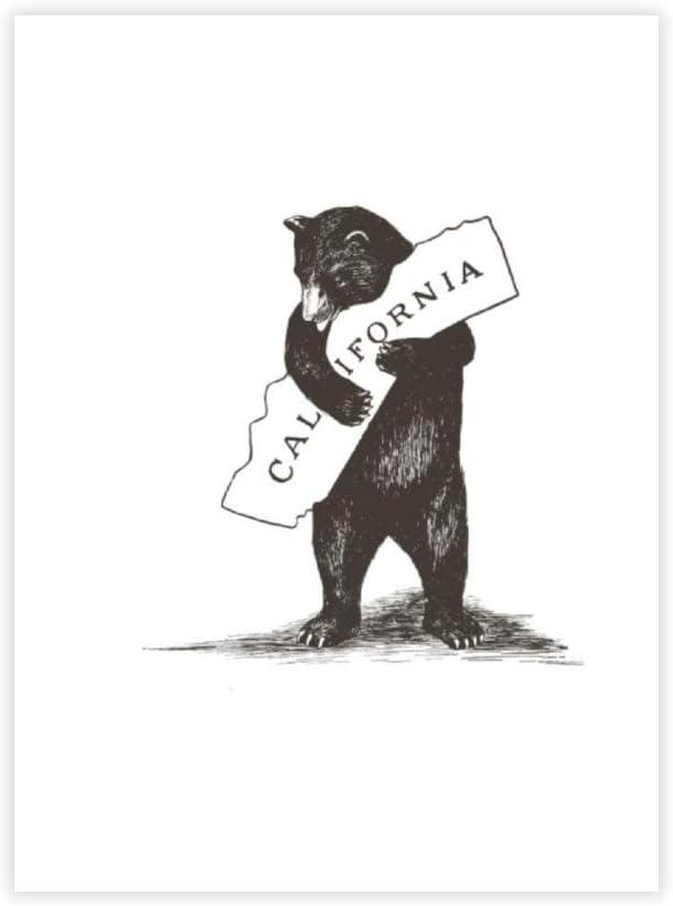 "yyone FamousSceneryWrappedCanvas I Love You California Bear Hugging State On Canvas Modern Wall Art Decor Wooden Framed 16"" X 20"""