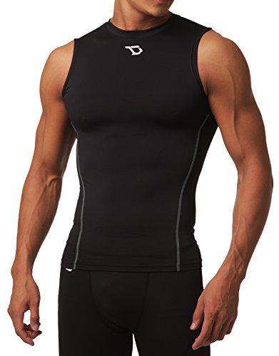 Defender Mens Cool Dry Compression Baselayer Sleeveless Muscle T-Shirt, U10-Blacksilver, M