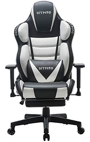 SITMOD Silla Gaming Sillas Gamer Ergonomica Silla 200kg Reclinable, Silla de Escritorio Gaming Sillas XL Ordenador Sillon Racing Esport Silla Bordado Luminoso con Reposapies-Blanco