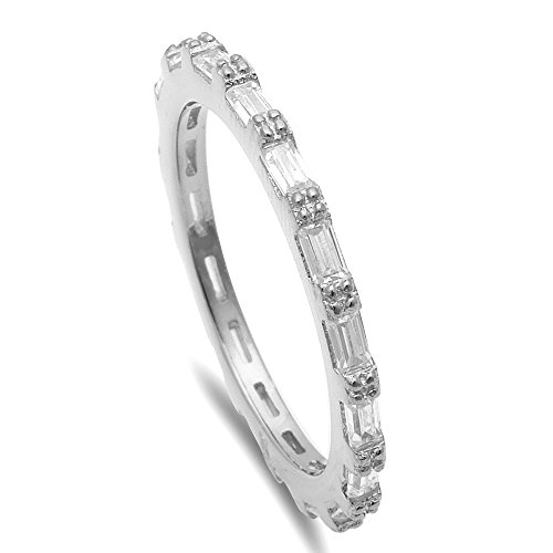 Silver Baguette Cubic Zirconia Eternity Style Band .925 Sterling Silver Ring Sizes 8 (Ring Baguette)